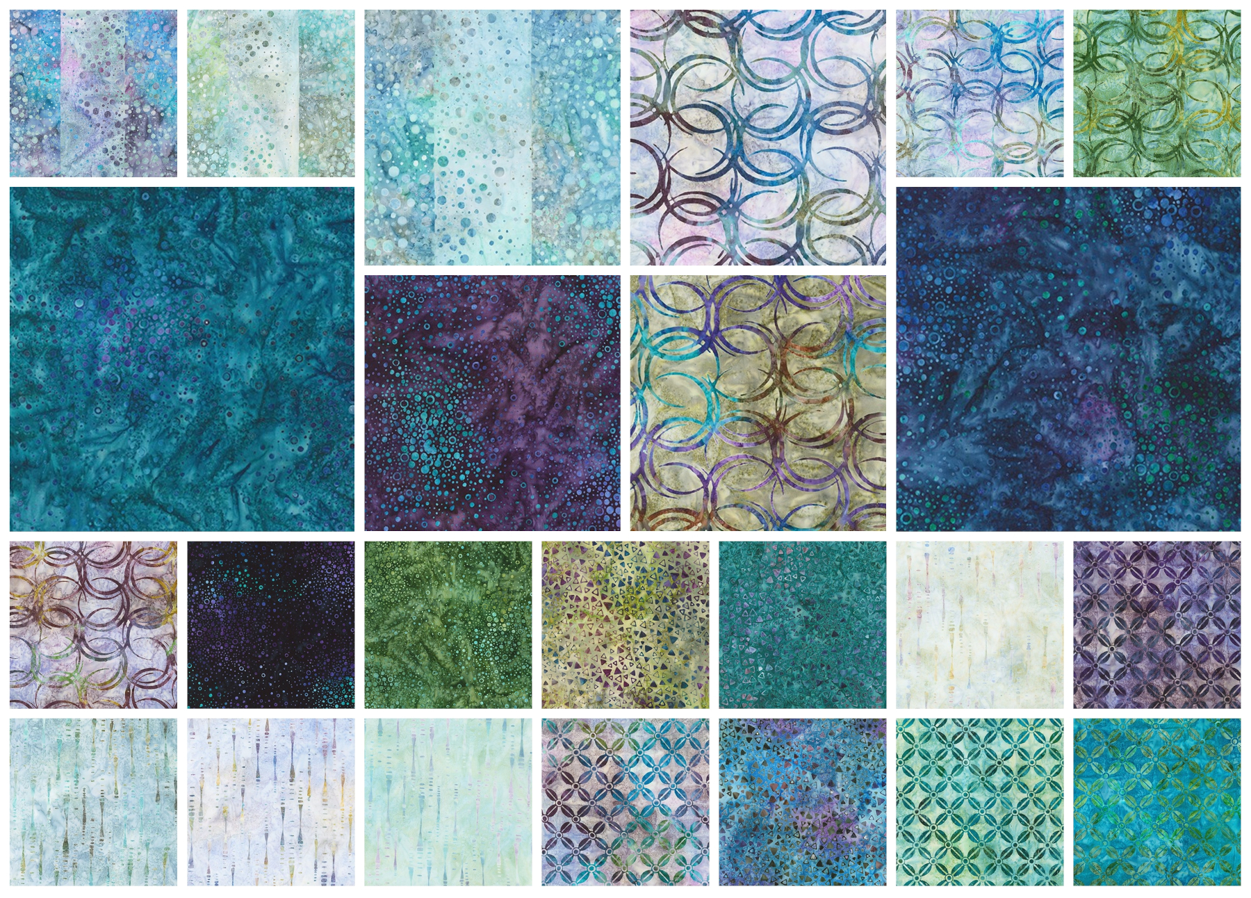 1 Yard Fabric Cuts 100/% Cotton Batiks Designed by Michael Mrowka /& Debra Lunn One of a Kind Package 103C 4 Lot of