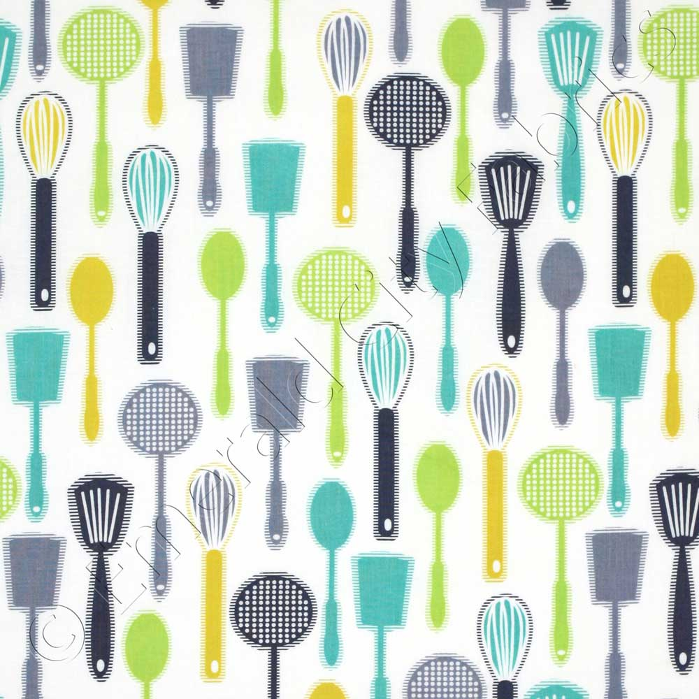 Kitchen Fabric: Timeless Treasures Modern Kitchen Linear Cooking Tools
