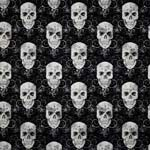 Timeless Treasures Fabric by the Yard Flourish Skulls Black Silver Metallic