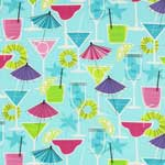 Timeless Treasures Fruity Cocktail Drinks Aqua Blue Pearl Metallic Fabric