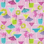 Timeless Treasures Fruity Cocktail Drinks Pink Pearl Metallic Fabric