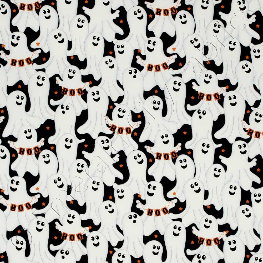 Timeless treasures halloween ghosts black and white fabric for Black and white fabric