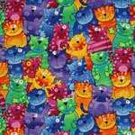 Timeless Treasures Happy Cats Multi Fabric