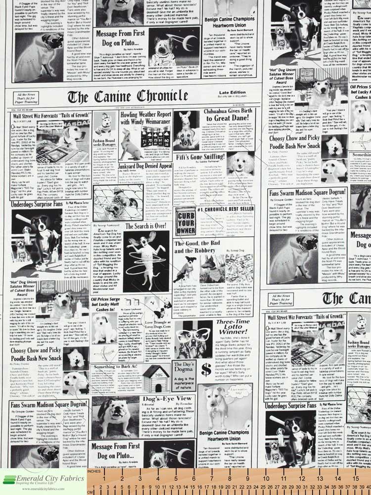 Timeless Treasures Canine Chronicle Dog Newspaper White