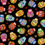 Timeless Treasures Sugar Skulls Tossed Black Fabric