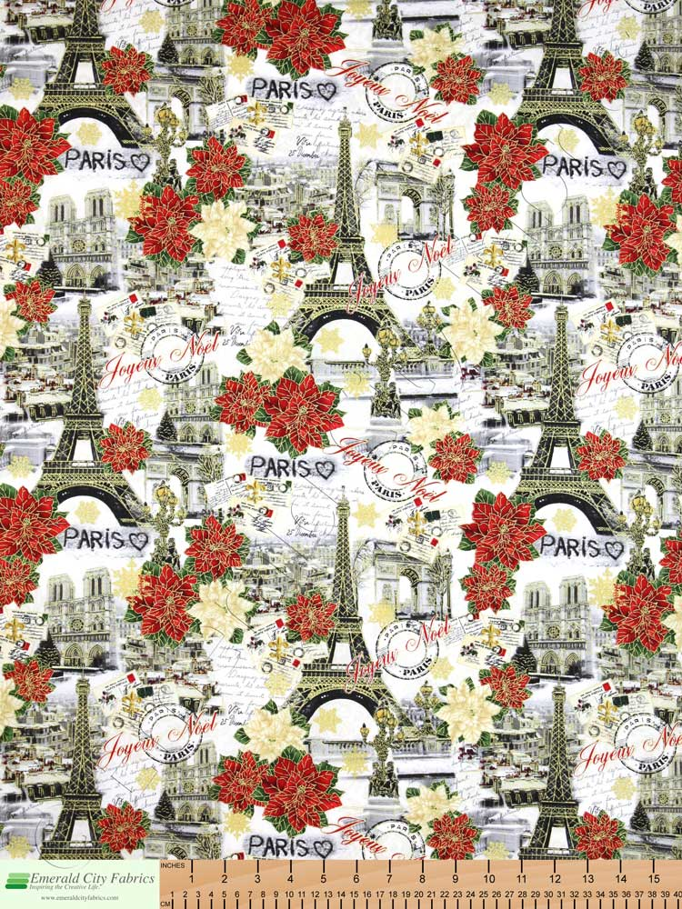 joyeux noel 2018 paris Timeless Treasures April in Paris Joyeux Noel Collage Multi Fabric  joyeux noel 2018 paris