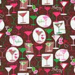 Hoffman Girl's Night Out Martini Drinks Brown and Strawberry Fabric