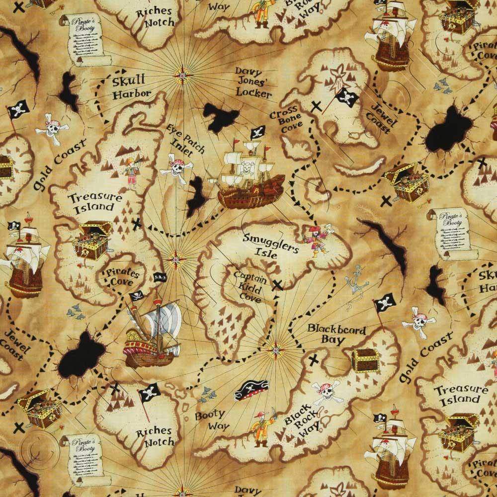 Pirate Treasure Map Rug: Timeless Treasures Pirate Treasure Map Tan Fabric