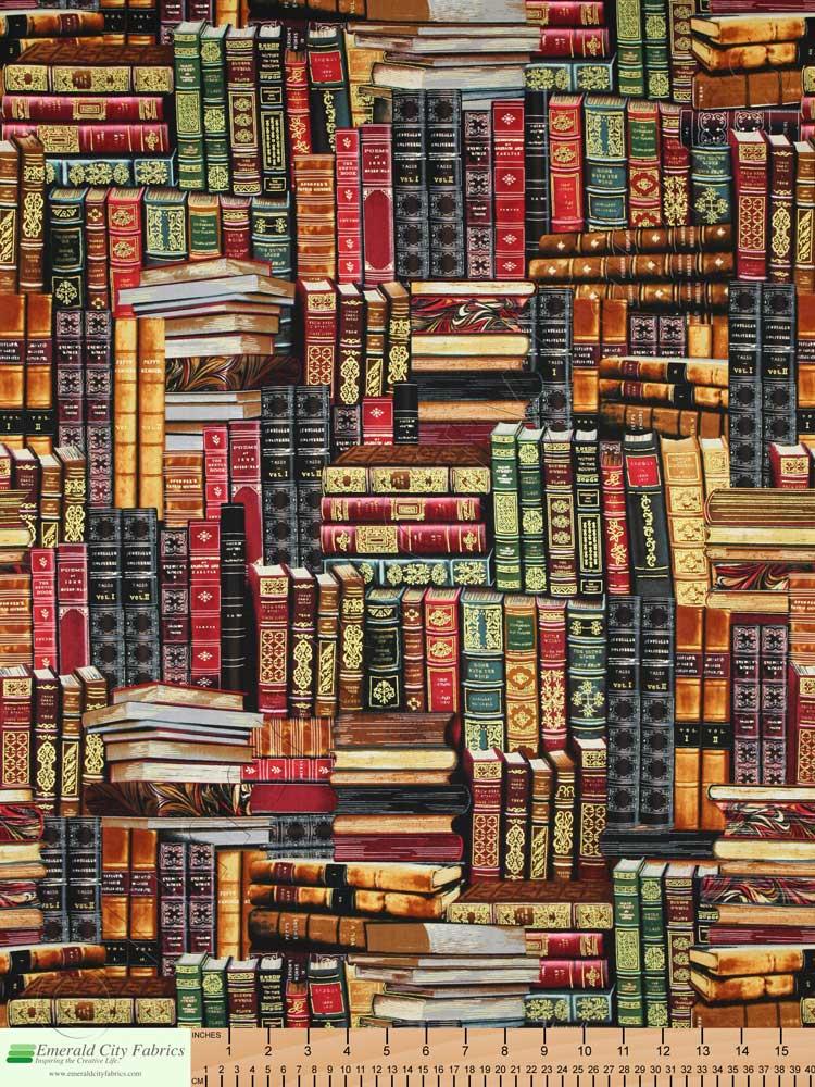 Timeless Treasures Library Books Multi Gold Metallic