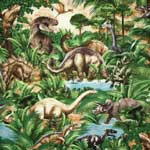 Timeless Treasures Dinosaurs Green Fabric
