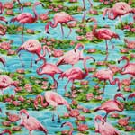 Timeless Treasures Pink Flamingos Turquoise Blue Fabric