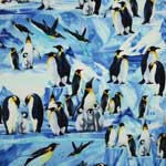 Timeless Treasures Penguins Blue Fabric