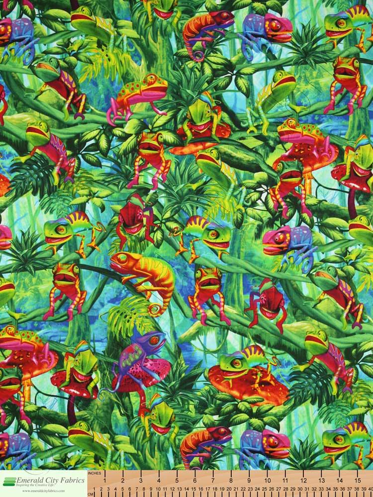 Timeless Treasures Chameleons Green Fabric Emerald City