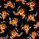 Timeless Treasures Realistic Tigers Black Fabric