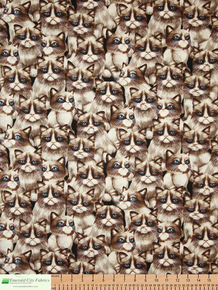 Timeless Treasures Moody Cranky Grumpy Cat Natural Fabric