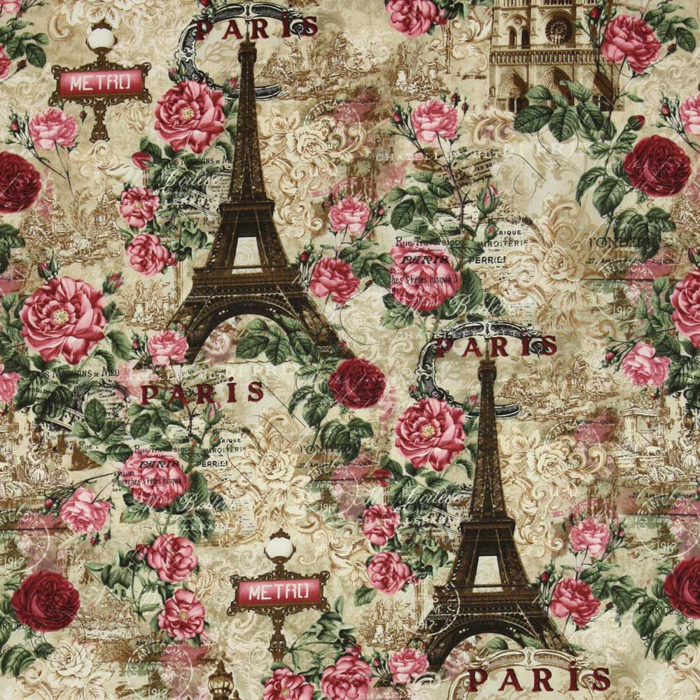 timeless treasures paris rendezvous allover collage natural fabric emerald city fabrics. Black Bedroom Furniture Sets. Home Design Ideas