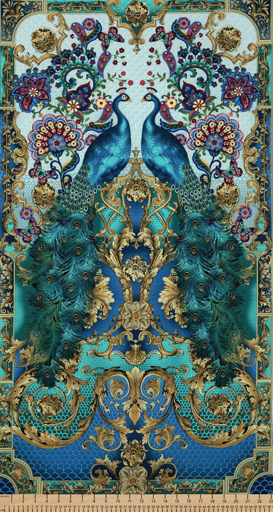 Timeless Treasures Hyde Park Peacock Cotton Fabric Panel
