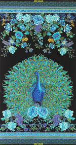 Timeless Treasures Enchanted Plume Peacock Panel Black Gold Metallic