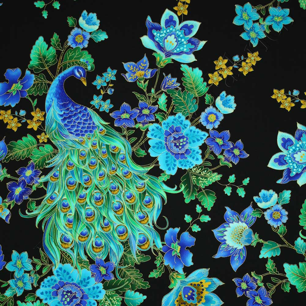 Timeless treasures enchanted plume beautiful peacock black for Textile fabrics