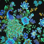 Timeless Treasures Enchanted Plume Beautiful Peacock Black Gold Metallic Fabric