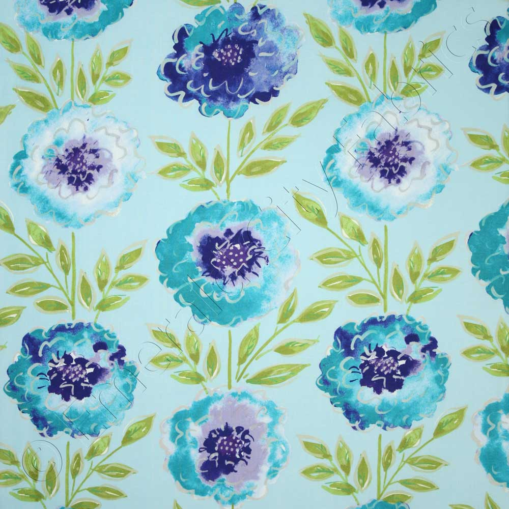Free Spirit The Painted Garden Rose Peacock Fabric