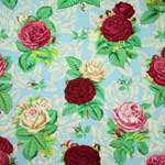 Free Spirit Botanical Roses Blue Fabric