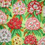 Free Spirit Botanical Rhododendrons Green Fabric