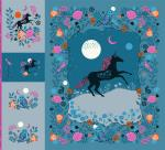 Ruby Star Society Crescent  Magic Unicorn Fabric Panel by Sarah Watts