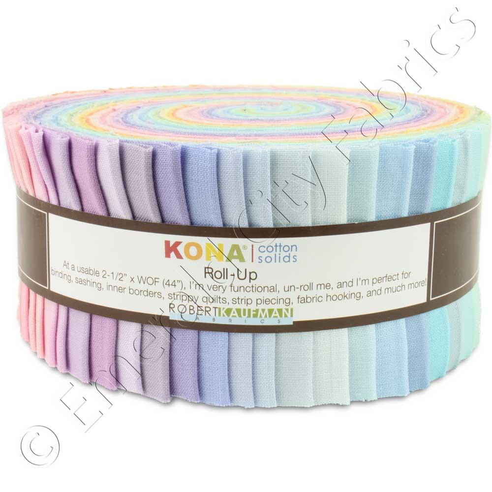 Robert Kaufman Kona Cotton New Pastel Jelly Roll Up