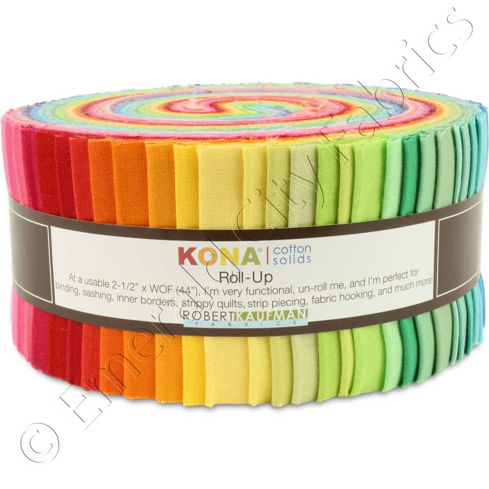 Robert Kaufman Kona Cotton New Bright Jelly Roll Fabric