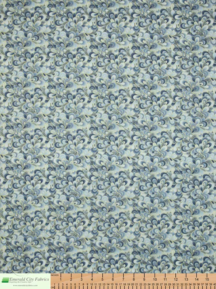 Timeless Treasures Shimmer Petals Cloud Blue Gold Metallic Fabric ...