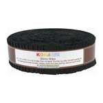 Robert Kaufman Kona Cotton Solids Black Skinny Strips Jelly Roll