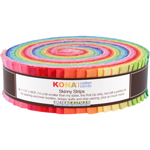 Robert Kaufman Kona Cotton Solids Bright Palette Skinny Strips Jelly Roll