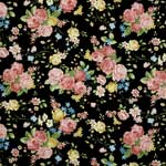 Timeless Treasures High Tea Roses Black Fabric