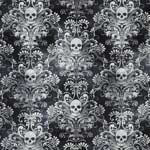 Timeless Treasures Wicked Skull Damask Charcoal Fabric