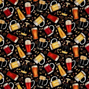 Elizabeth's Studio Happy Hour Beer Mugs Black Multi Fabric