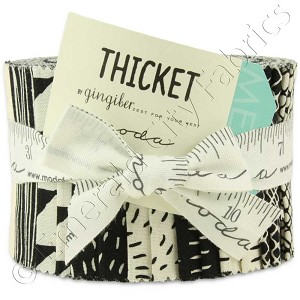 Moda Thicket Black and Natural Junior Jelly Roll by Gingiber