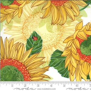 Moda Solana Sunflowers Cream Fabric by Robin Pickens