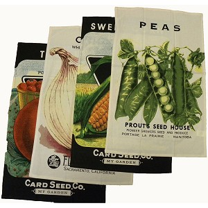 Moda Veggies Seed Packet Cotton Dish Towels Set of 4