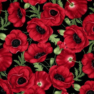 Timeless Treasures Poppies Red Fabric