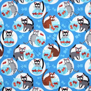 Timeless treasures go fish cats and fishbowls blue fabric for Cats go fishing