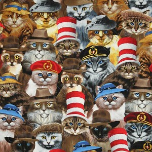 Timeless Treasures Cats in Hats Natural Fabric