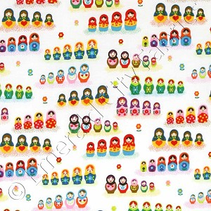 Timeless Treasures Mini Russian Nesting Matryoshka Dolls White Fabric