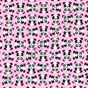 Timeless Treasures Mini Panda Bears Flannel Pink Fabric