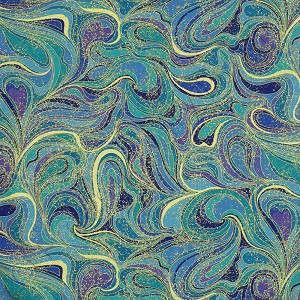 Timeless Treasures Palazzo Abstract Swirls Peacock Blue