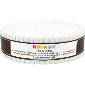 Robert Kaufman Kona Cotton Solids White Skinny Strips Jelly Roll